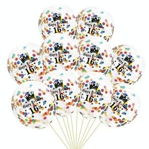 10 PCS 12 Inch Latex Clear Birthday Inflatable Confetti Balloons 30 / 40 / 50 Anniversary Wedding Decoration 16th(Colorful Confetti+Crown)