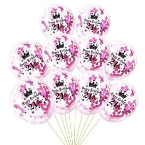 10 PCS 12 Inch Latex Clear Birthday Inflatable Confetti Balloons 30 / 40 / 50 Anniversary Wedding Decoration 21th(Rose Red Confetti+Crown)
