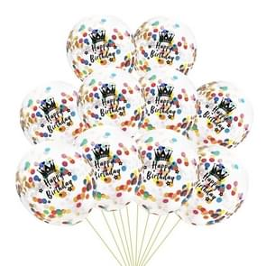 10 PCS 12 Inch Latex Clear Birthday Inflatable Confetti Balloons 30 / 40 / 50 Anniversary Wedding Decoration Happy Birthday(Colorful Confetti+Crown)