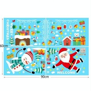 4 PCS Kerst Statische Stickers Christmas Shopping Mall Window Wall Stickers Raam Stickers  Specificatie: Santa Claus