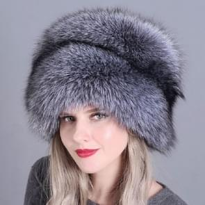 Silver Fox Ladies Winter Thick Warm Fox Fur Bomber Hat with Tail, Size:52-60cm