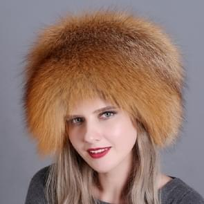 Red Fox Ladies Winter Thick Warm Fox Fur Bomber Hat with Tail, Size:52-60cm