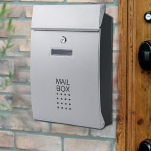 Residential Front Door Outdoor Wall-mounted Mailbox Vertical Lock Mailbox, Style:Silver Door Black Box