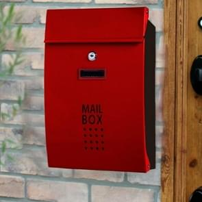 Residential Front Door Outdoor Wall-mounted Mailbox Vertical Lock Mailbox, Style:Wine Red Door Black Box