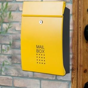 Residential Front Door Outdoor Wall-mounted Mailbox Vertical Lock Mailbox, Style:Yellow Door Black Box