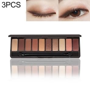 3 PCS Eyeshadow Palette 10 Colors Matte Eye Shadow Naked Palette Glitter Eye Shadow(Coffee)