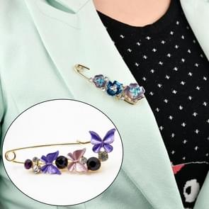 Vintage Female Pins and Brooches Collar Lapel Pins Badge Flower Rhinestone Brooch Jewelry(butterfly purple)
