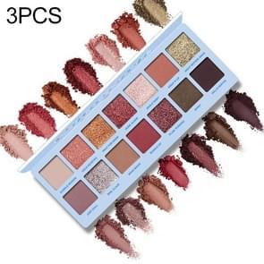 3 stuks 14 kleur naakt glanzende oogschaduw palet waterdichte rokerige oogschaduw pallete mat poeder cosmetica (hemelsblauw)