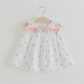 Summer Girls Double Shoulders Bow-knot Flower Print Slip Dress Casual Dress, Size:80cm(White)