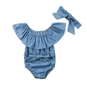 Female Babies Denim Lotus Leaf Collar Of Shoulder Jumpsuits Triangle Romper + Bow-knot Tie Set, Kid Size:90CM(Light Blue)