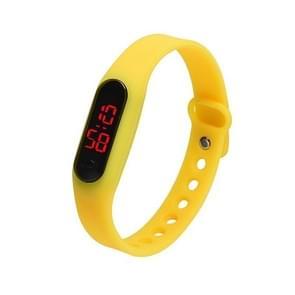 Delicate sport horloges Rubber LED vrouwen Mens datum sport armband digitale pols Watch(Yellow)