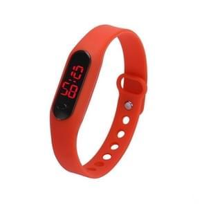Delicate Sports Watches Rubber LED Women Mens Date Sports Bracelet Digital Wrist Watch(Red)