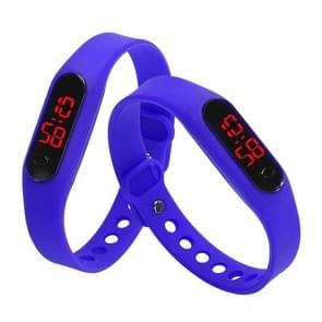 Delicate Sports Watches Rubber LED Women Mens Date Sports Bracelet Digital Wrist Watch(Deep Blue)