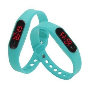 Delicate Sports Watches Rubber LED Women Mens Date Sports Bracelet Digital Wrist Watch(Mint Green)