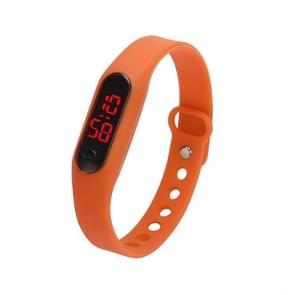 Delicate Sports Watches Rubber LED Women Mens Date Sports Bracelet Digital Wrist Watch(Orange)