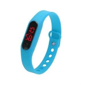 Delicate Sports Watches Rubber LED Women Mens Date Sports Bracelet Digital Wrist Watch(azure color)