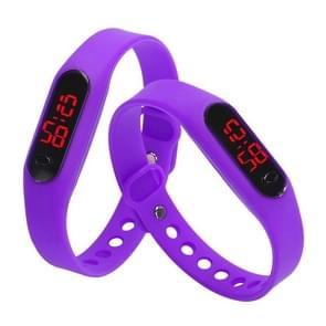 Delicate Sports Watches Rubber LED Women Mens Date Sports Bracelet Digital Wrist Watch(Purple)