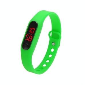 Delicate Sports Watches Rubber LED Women Mens Date Sports Bracelet Digital Wrist Watch(Green)