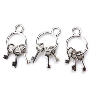 20 PCS 25mm x14mm Keys Charms Antique Silver Tone Cute for necklace pendant charms diy jewelry making