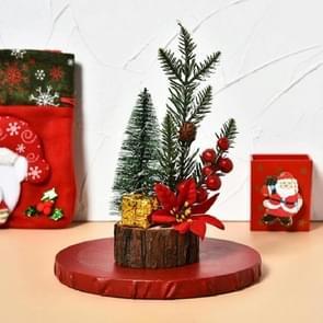 Mini kerstboom met lichten en lichtgevende houten bodem Tafelblad kerstboom decoratie ornamenten (kerstbloem)