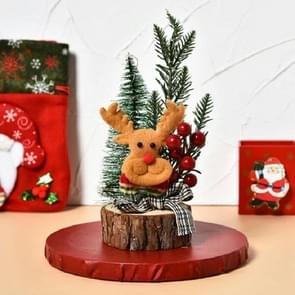 Mini kerstboom met lichten en lichtgevende houten bodem Tafelblad Kerstboom Decoratie Ornamenten (Fawn)
