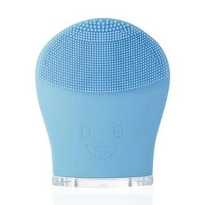 Electric Silicone Facial Cleansing Brush Sonic Vibration Massage USB Rechargeable Smart Ultrasonic Face Cleaner Beauty Tool(Blue)