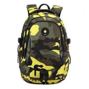 Camouflage Waterproof Nylon School Bags for Girls Boys Children Backpack Orthopedic Kids Bag, Size:L(Yellow)