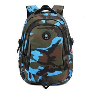 Camouflage Waterproof Nylon School Bags for Girls Boys Children Backpack Orthopedic Kids Bag, Size:M(Blue)