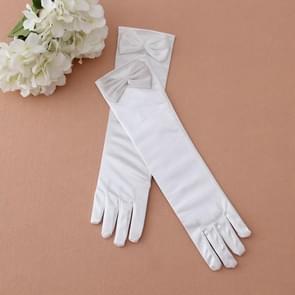 Fancy Princess Gloves For Girls Kids Long-Tube Gloves Sleeve Bowknot Design Cute Girl Party Gloves