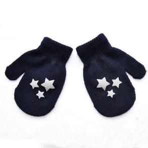 Stip ster hart patroon wanten kinderen handschoenen zacht breien warme wanten (Navy Blue start)