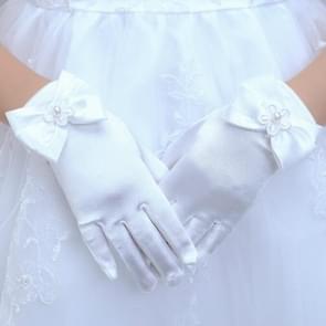 Lovely Girl Etiquette Performance Gloves bowknot Satin Gloves Short Children Princess Dance Glove, Size:S(White)