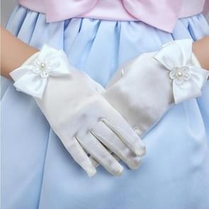 Lovely Girl Etiquette Performance Gloves bowknot Satin Gloves Short Children Princess Dance Glove, Size:M(Beige)