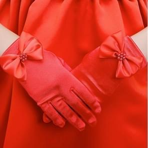 Lovely Girl Etiquette Performance Gloves bowknot Satin Gloves Short Children Princess Dance Glove, Size:M(Red)