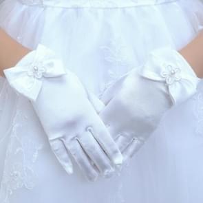 Lovely Girl Etiquette Performance Gloves bowknot Satin Gloves Short Children Princess Dance Glove, Size:L(White)