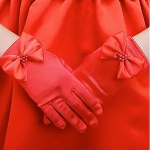 Lovely Girl Etiquette Performance Gloves bowknot Satin Gloves Short Children Princess Dance Glove, Size:L(Red)