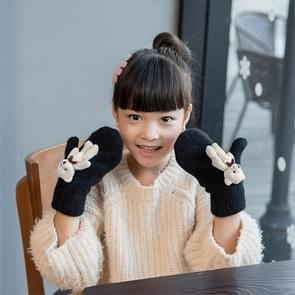 Lovely Children Winter Warm Cartoon Bear Wool Knit Mittens Thicken Velvet Kids Gift Soft Gloves(Black)