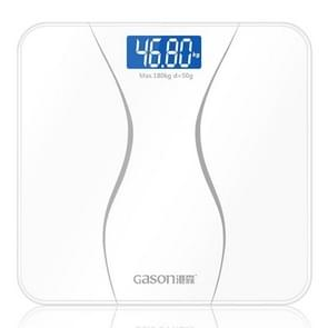 GASON A2 Bathroom Body Scale Glass Smart Household Electronic Digital Weight Balance Bariatric LCD Display Weigher(White)