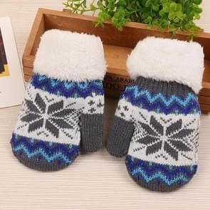 Children Warm Gloves Winter Plus Velvet Thick Knit Wool Outdoor Children Mittens(Snow Pattern Gray)