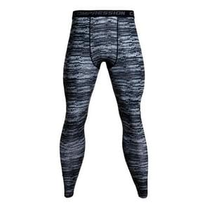 Running Football Training Fitness Compression Tights Pants for Men, Size:M(Gray and Black Stripes)