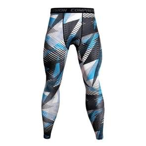 Running Football Training Fitness Compression Tights Pants for Men, Size:M(Geometric Blue Dot)