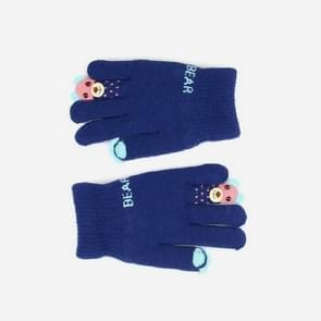 Winter cartoon Panda Bear klauw plus fluweel vinger handschoenen kinderen handschoenen  grootte: One size (Navy)