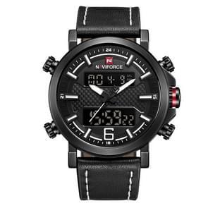 NAVIFORCE 9135 Sport Watch Leather Waterproof Quartz Watches Date LED Analog Clock for Men