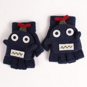 Winter dual-use cartoon halve vinger Flip gebreide warme kinderen handschoenen (Navy)