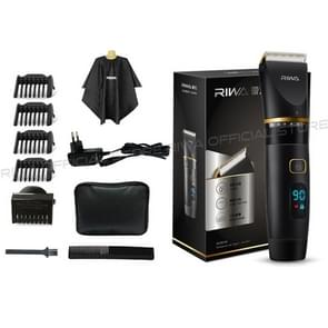 RIWA Professional Mens Hair Clipper Fast Charger Washable Barber Clippers with LCD Display, Plug Type:EU Plug(Black)