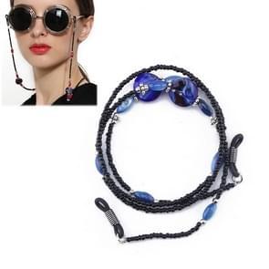 Vintage zonnebril antislip keten wild glazen ketting (blauw)