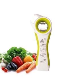 5 in 1 Multifunctional Plastic Bottle Opener Beer Opener Kitchen Tool(White&Green)