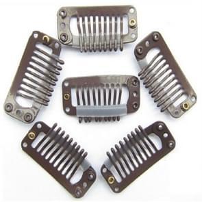 20 stuks 32mm 9-tanden haarverlenging clips snap metalen clips met silicone achterkant (bruin)
