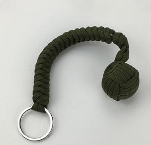 Outdoor Security Protection Black Monkey Fist Steel Ball Bearing Self Defense Lanyard Survival Key Chain(Green)