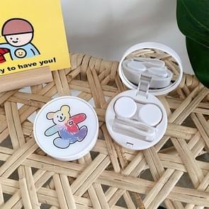 2 PCS Portable Contact Lens Case Beauty Pupil Care Box (Doodle Bear)