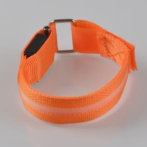 Orange Nylon Night Sports LED Light Armband Light Bracelet, Specification:Battery Version